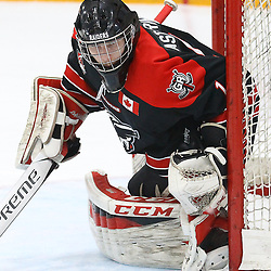 """TRENTON, ON  - MAY 5,  2017: Canadian Junior Hockey League, Central Canadian Jr. """"A"""" Championship. The Dudley Hewitt Cup Game 7 between Georgetown Raiders and the Powassan Voodoos.   Josh Astorino #1 of the Georgetown Raiders watches the play during the first period<br /> (Photo by Alex D'Addese / OJHL Images)"""