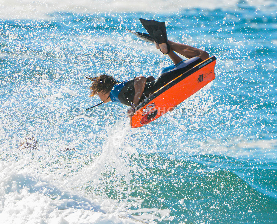 Boogie Boarder Getting Air at the Wedge in Newport Beach