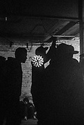 Silhouetted figures, 'Krampus Karnival' Christmas party in Bristol, December 2016