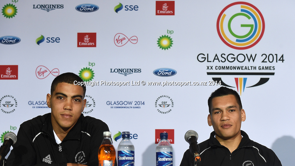 Leroy Hindley and Chad Milnes during a Boxing press conference at the Main Press Centre. Glasgow Commonwealth Games 2014. Scotland. Wednesday 23 July 2014. Photo: Andrew Cornaga/www.Photosport.co.nz