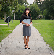 Elvira Salazar poses for photograph in Oak Meadows Park, near her childhood home, September 23, 2013. Salazar would often walk  through the park on her way from the bus stop to avoid drug dealers and other problems after her day at DeBakey High School.