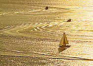 Boat, Southhold Bay from Shelter Island, New York, North Fork, Long Island. Sunset, golden reflection