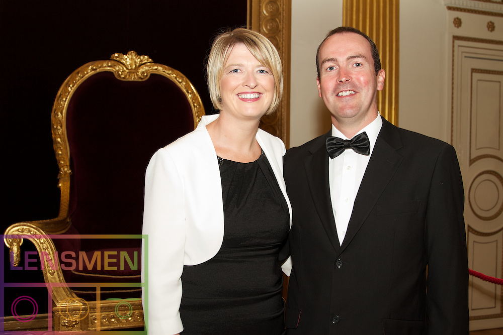The Ireland-U.S. Council Midsummer Gala Dinner.<br />Friday, June 27, 2014.<br />Venue: Saint Patrick&rsquo;s Hall in Dublin Castle, Dublin, Ireland.<br /><br />Pictured at the Dinner were:<br />Deirdre and Stephen Cotter, form CIE Tours.