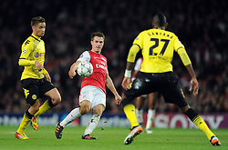 23.11.2011, Emirates Stadion, London, ENG, UEFA CL, Gruppe F, FC Arsenal (ENG) vs Borussia Dortmund (GER), im Bild Arsenal's Aaron Ramsey in action during the football match of UEFA Champions league, group F, between FC Arsenal (ENG) and Borussia Dortmund (POR) at Emirates Stadium, London, United Kingdom on 2011/11/23. EXPA Pictures © 2011, PhotoCredit: EXPA/ Sportida/ Chris Brunskill..***** ATTENTION - OUT OF ENG, GBR, UK *****