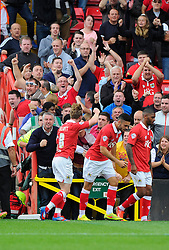 Bristol City's Wade Elliott celebrates scoring the winning goal with the fans  - Photo mandatory by-line: Joe Meredith/JMP - Mobile: 07966 386802 - 27/09/2014 - SPORT - Football - Bristol - Ashton Gate - Bristol City v MK Dons - Sky Bet League One