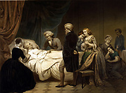The Life of George Washington': Washington (1732-1799) First President of the United States of America (1789-1797) on his deathbed surrounded by family and friends. Hand-coloured lithograph c1853 after painting by J.B Stearns.