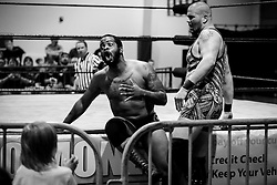 Kevin Phoenix reacts after being hit by Logan Creed during Old School Championship Wrestling Sunday, March 13, 2016 at the Hanahan Sports Complex. Paul Zoeller/Staff