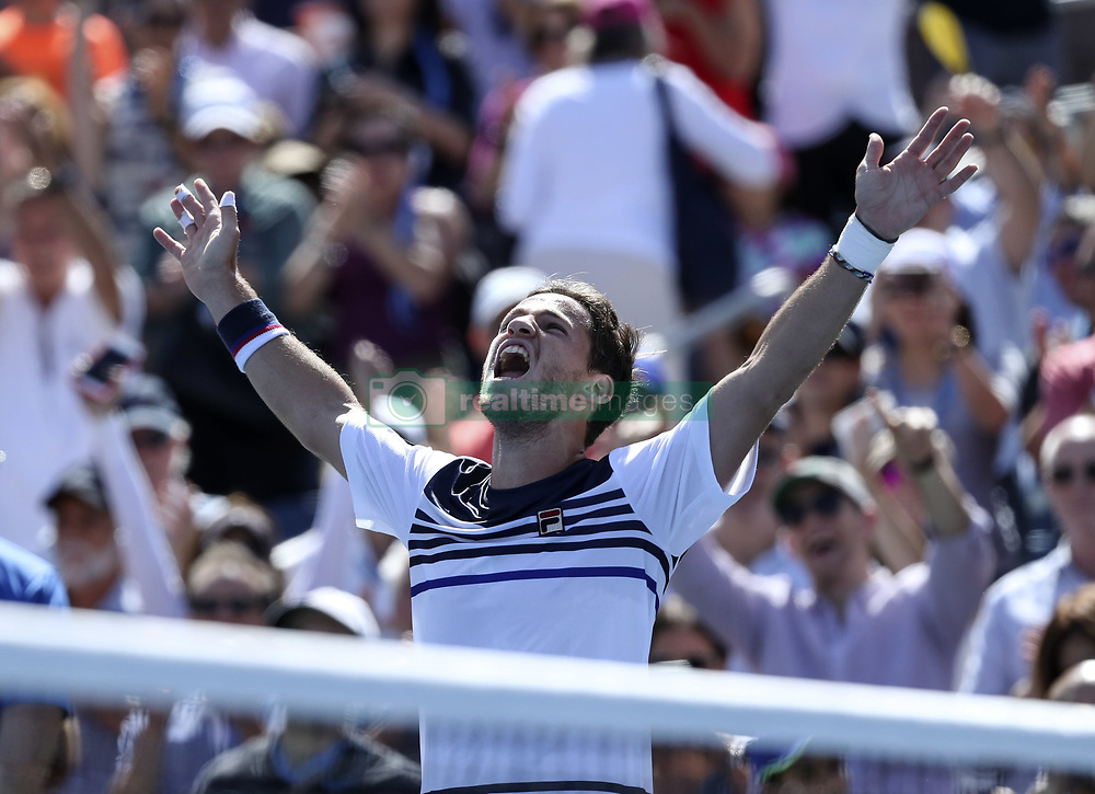 NEW YORK, Sept. 2, 2017  Diego Schwartzman of Argentina celebrates after the men's singles third round match against Marin Cilic of Croatia at the 2017 US Open in New York, the United States, Sept. 1, 2017. Diego Schwartzman won 3-1. (Credit Image: © Wang Ying/Xinhua via ZUMA Wire)