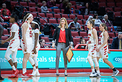 NORMAL, IL - February 27: Redbird women's basketball team with Kristen Gillespie during a college women's basketball game between the ISU Redbirds and the Bears of Missouri State February 27 2020 at Redbird Arena in Normal, IL. (Photo by Alan Look)