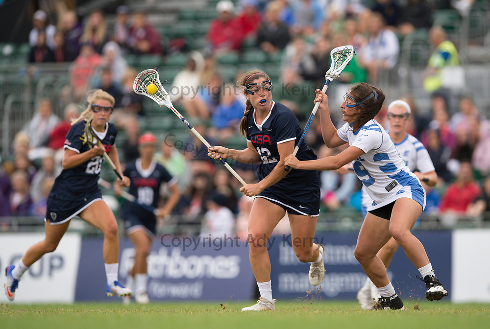 USA's Kayla Treanor  challenges with Israel's Shirel Fresh  at the 2017 FIL Rathbones Women's Lacrosse World Cup, at Surrey Sports Park, Guildford, Surrey, UK, 19th July 2017.