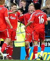 Photo: Ed Godden/Sportsbeat Images.<br />Reading v Liverpool. The Barclays Premiership. 07/04/2007. Liverpool's Dirk Kuyt (centre) celebrates after scoring the winning goal.