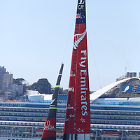 Emirates Team New Zealand races solo during the first Round Robin of the Louis Vuitton Cup in the America's Cup.
