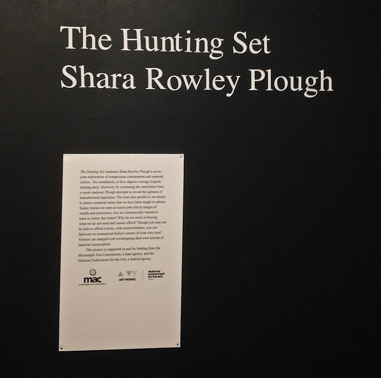 The Hunting Set continues Shara Rowley Plough's seven-year exploration of conspicuous consumption and material culture. The installation, at first, depicts a benign English hunting party.<br /> <br /> more here: http://www.memphis.edu/amum/sharaplough_thehuntingset_artlab.php