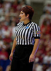 March 20, 2010; Stanford, CA, USA; NCAA referee Darla Foutz during the first half of the game between the Stanford Cardinal  and the UC Riverside Highlanders in the first round of the 2010 NCAA womens basketball tournament at Maples Pavilion. Stanford defeated UC Riverside 79-47.