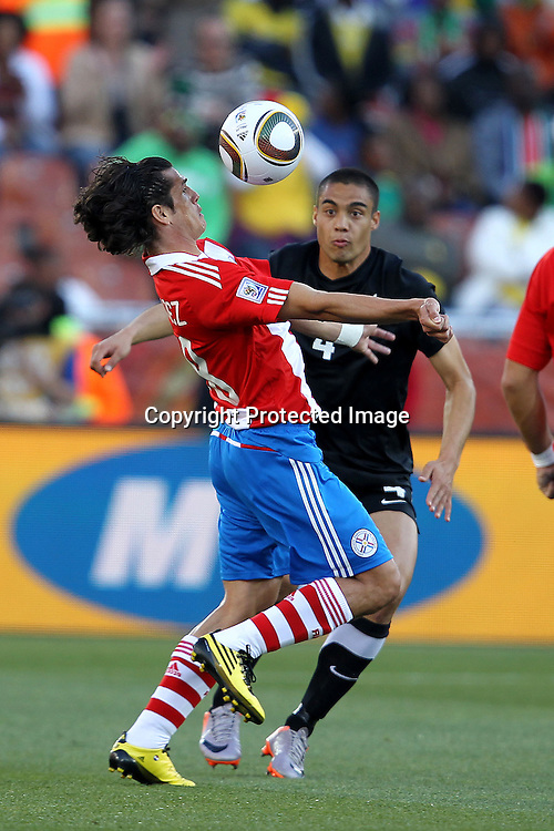 Nelson Valdez of Paraguay  during the the FIFA World Cup 2010 match between New Zealand and Paraguay held at The Peter Mokaba Stadium in Polokwane, South Africa on the 24th June 2010<br /> <br /> <br /> Photo by Ron Gaunt/SPORTZPICS