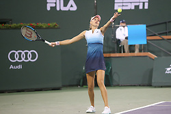 March 9, 2019 - Indian Wells, CA, U.S. - INDIAN WELLS, CA - MARCH 09: Kristina Mladenovic (FRA) serves during the BNP Paribas Open on March 9, 2019 at Indian Wells Tennis Garden in Indian Wells, CA. (Photo by George Walker/Icon Sportswire) (Credit Image: © George Walker/Icon SMI via ZUMA Press)