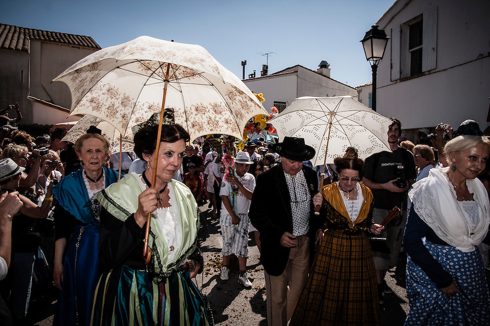 Every year, on 24/25 May, Roma people (Gypsies) are meeting in Saintes-Maries-de-la-Mer, Camargue, France, to venerate Saint Sarah and the Three Marys.<br /> A medieval legendary account had Mary Magdalene, Mary of Cleopas and Mary Salom&egrave;, the Three Marys at the Tomb, with Saint Sarah, the maid of one of them, as part of a group who landed near Saintes-Maries-de-la-Mer in Camargue, after a voyage from the Holy Land. The group sometimes includes Lazarus, who became bishop of Aix-en-Provence, and Joseph of Arimathea.<br /> The relics of Mary Magdalene are stored in Saint-Maximin-la-Sainte-Baume.