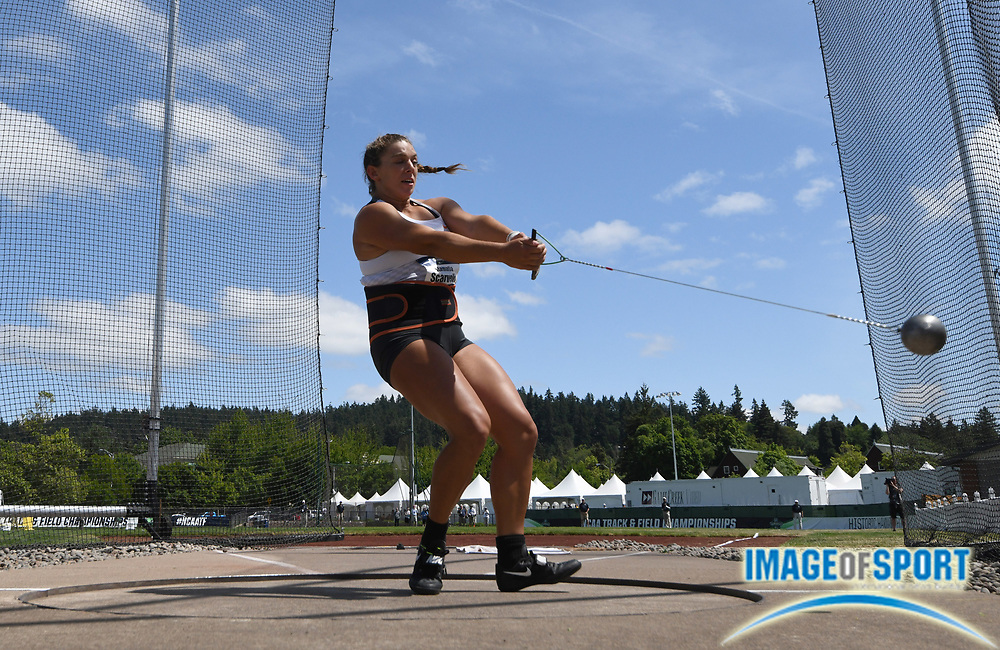 Jun 7, 2018; Eugene, OR, USA; Stamatia Scarvelis of Tennessee places third in the women's hammer with a throw of 226=8 (69.10m) during the NCAA Track and Field championships at Hayward Field.