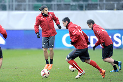 04.03.2014, AFG Arena, St. Gallen, SUI, Training der Schweizer Nationalmannschaft, vor dem Testspiel gegen Kroatien, im Bild Ricardo Rodriguez, Blerim Dzemaili, Mario Gavranovic (SUI) // during a practice session of swiss national football team prior to the international frindley against Croatia at the AFG Arena in St. Gallen, Switzerland on 2014/03/04. EXPA Pictures © 2014, PhotoCredit: EXPA/ Freshfocus/ Claudia Minder<br /> <br /> *****ATTENTION - for AUT, SLO, CRO, SRB, BIH, MAZ only*****