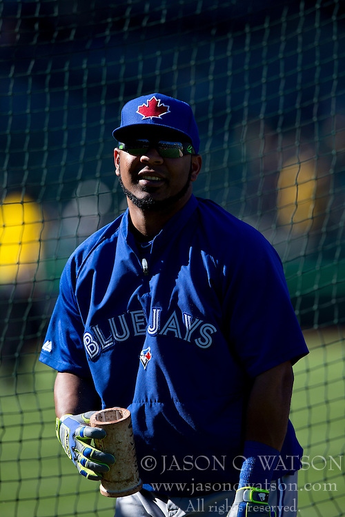 OAKLAND, CA - JULY 05:  Edwin Encarnacion #10 of the Toronto Blue Jays looks on during batting practice before the game against the Oakland Athletics at O.co Coliseum on July 5, 2014 in Oakland, California. The Oakland Athletics defeated the Toronto Blue Jays 5-1.  (Photo by Jason O. Watson/Getty Images) *** Local Caption *** Edwin Encarnacion