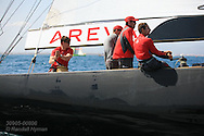 France's Areva Challenge team tests wind and sails before start of America's Cup fleet racing; Valencia, Spain.