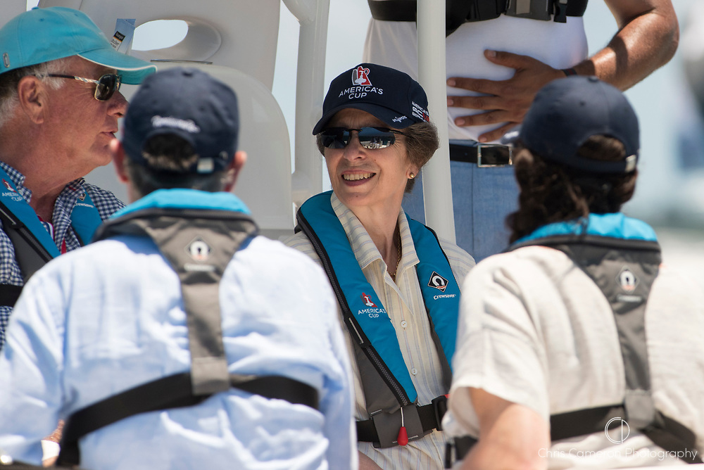 The Great Sound, Bermuda, 25th June 2017. Ann Princess Royal aboard a VIP boat to watch the racing on day four of racing in the America's Cup presented by Louis Vuitton.