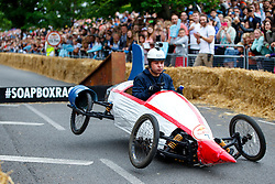 © Licensed to London News Pictures. 12/07/2015. London, UK. Competitors taking part at Red Bull Soapbox Race at Alexandra Palace in north London on Sunday, July 12, 2015. Red Bull Soapbox Race is an international event in which amateur drivers race homemade soapbox vehicles. Photo credit: Tolga Akmen/LNP