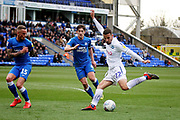 Wycombe midfielder Nick Freeman (22) gets in a shot during the EFL Sky Bet League 1 match between Peterborough United and Wycombe Wanderers at London Road, Peterborough, England on 2 March 2019.