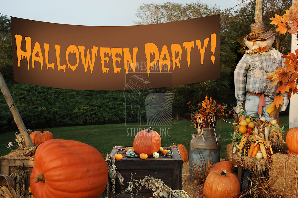 """autumn scene with pumpkins, scarecrow and banner that says 'Happy Halloween"""""""