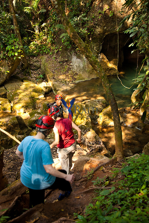 General view of tourists about to enter the Actun Tunichil Muknal Cave Natural Monument in the Tapir Mountain Nature Reserve, Teakettle Village, Cayo District, Belize.