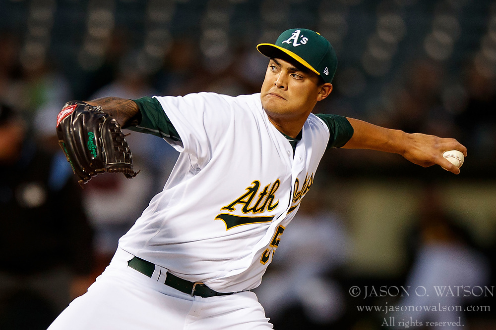 OAKLAND, CA - APRIL 04:  Sean Manaea #55 of the Oakland Athletics pitches against the Los Angeles Angels of Anaheim during the second inning at the Oakland Coliseum on April 4, 2017 in Oakland, California. The Los Angeles Angels of Anaheim defeated the Oakland Athletics 7-6. (Photo by Jason O. Watson/Getty Images) *** Local Caption *** Sean Manaea