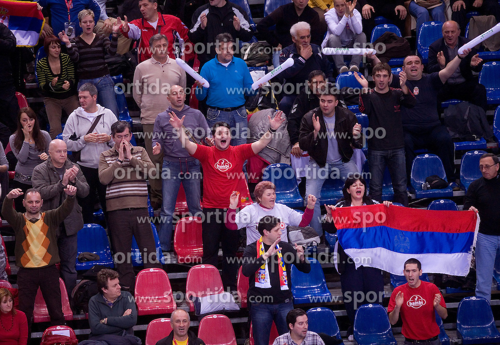 Fans of Serbia during 21st Men's World Handball Championship preliminary Group D match between Serbia and Brazil, on January 19, 2009, in Arena Zatika, Porec, Croatia. Win of Brazil 32:30.(Photo by Vid Ponikvar / Sportida)