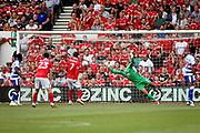 Reading goalkeeper Vito Mannone (1) can't stop Nottingham Forest forward Hillal Soudani (2) shot 1-0 forest during the EFL Sky Bet Championship match between Nottingham Forest and Reading at the City Ground, Nottingham, England on 11 August 2018.