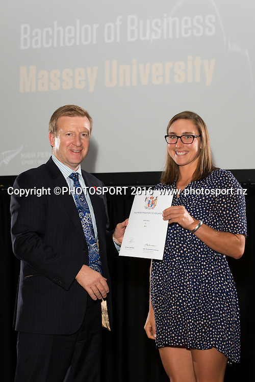 Hon. Jonathan Coleman presents certificate to Rowing Sarah Gray at the High Performance Sport NZ Waikato ceremony for the Prime Minister's Scholarship Awards, at Sir Don Rowlands Centre, Lake Karapiro, Cambridge, New Zealand, 20 April 2016. Copyright Photo: Stephen Barker / www.photosport.nz