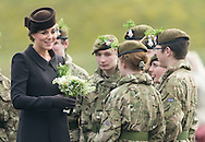 Catherine, Duchess of Cambridge and Prince William, Duke of Cambridge attend the St Patrick's Day Parade at Mons Barracks in Aldershot