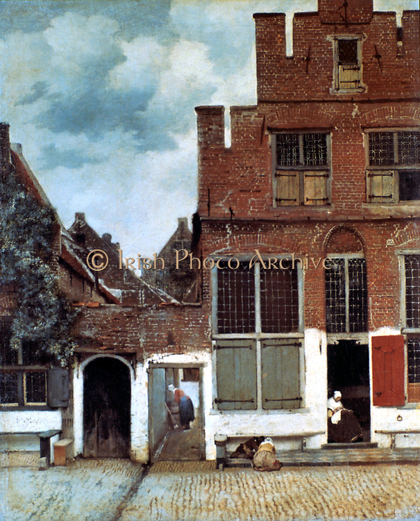 The Little Street' 1657-1658. Oil on Canvas. Jan Vermeer (1632-1675) Dutch Baroque painter. A view of a house standing in Delft. Dutch vernacular architecture and domestic activities. Glass Window Leaded-light Shutter Wood Metal Hinge