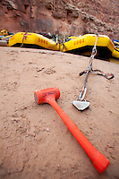 Hammer used for pounding in sand stake while rafting the Grand Canyon. Grand Canyon National Park, AZ.