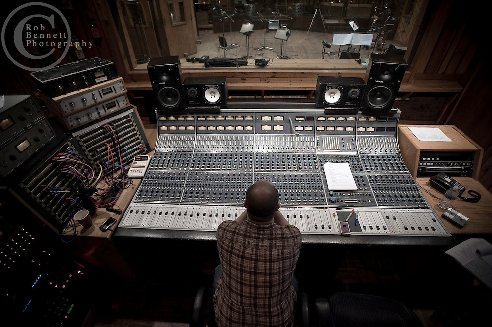 New York, NY : Mar 17/18, 2011:.James Sampliner, producer/arranger/orchestrator/piano, sits at the legendary sound board known as the Power Station in Studio A at Avatar Studios. .---.Photo by Rob Bennett.