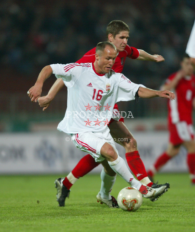 BUDAPEST, HUNGARY - Wednesday, March 31, 2004: Wales' Carl Robinson and Hungary's Balazs Toth during the International Friendly match at the Ferenc Puskas Stadium. (Pic by David Rawcliffe/Propaganda)