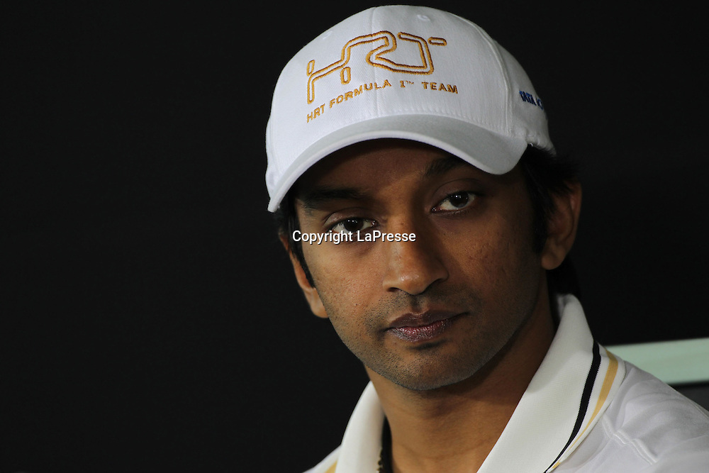 &copy; Photo4 / LaPresse<br /> 25/10/2012 Noida, India<br /> Sport <br /> Indian Grand Prix, Noida 25-28 October 2012<br /> In the pic: Narain Karthikeyan (IND) HRT F1 Team F112