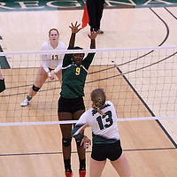 2nd year outside hitter Diana Lumbala (9) of the Regina Cougars in action during Women's Volleyball home game on November 19 at Centre for Kinesiology, Health and Sport. Credit: Arthur Ward/Arthur Images