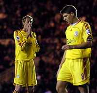 Photo: Jed Wee.<br />Middlesbrough v Liverpool. The Barclays Premiership. 18/11/2006.<br />Liverpool's Peter Crouch (L) rues a header cleared off the line by Jonathan Woodgate, as Steven Gerrard walks away in disappointment.