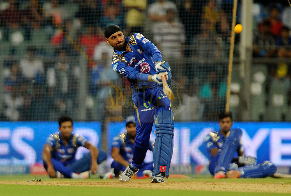 Harbhajan Singh of Mumbai Indians bats during the YES BANK Maximum competition after match 46 of the Pepsi IPL 2015 (Indian Premier League) between The Mumbai Indians and The Royal Challengers Bangalore held at the Wankhede Stadium in Mumbai, India on the 10th May 2015.<br /> <br /> Photo by:  Pal Pillai / SPORTZPICS / IPL