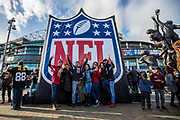 Fans being to arrive at Twickenham during the International Series match between Arizona Cardinals and Los Angeles Rams at Twickenham, Richmond, United Kingdom on 22 October 2017. Photo by Jason Brown.