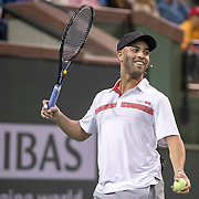 March 7, 2015, Indian Wells, California:<br /> James Blake reacts during the McEnroe Challenge for Charity presented by Masimo in Stadium 2 at the Indian Wells Tennis Garden in Indian Wells, California Saturday, March 7, 2015.<br /> (Photo by Billie Weiss/BNP Paribas Open)