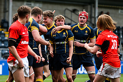 Worcester Warriors U18 celebrate a try for Cameron Harrison (St John's College, Zimbabwe) to secure the win - Rogan Thomson/JMP - 16/02/2017 - RUGBY UNION - Sixways Stadium - Worcester, England - Worcester Warriors U18 v Saracens U18 - Premiership Rugby Under 18 Academy Finals Day 5th Place Play-Off.