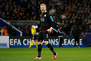 Leicester City Goalkeeper Kasper Schmeichel reacts during the Champions League round of 16, game 2 match between Leicester City and Sevilla at the King Power Stadium, Leicester, England on 14 March 2017. Photo by Richard Holmes.