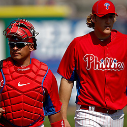 February 24, 2011; Clearwater, FL, USA; Philadelphia Phillies catcher Carlos Ruiz (51) and starting pitcher Drew Naylor (64) during a spring training exhibition game against the Florida State Seminoles at Bright House Networks Field. The Phillies defeated the Seminoles 8-0. Mandatory Credit: Derick E. Hingle