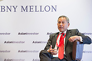 "Session ""10 Questions in 10 Minutes - What keeps COOs up at night"" with Moderator Richard Morrow, Editor, AsianInvestor, and Speaker Mark Nelligan, Managing Director Head of Alternative Investment Services and Structured Products, Asia Pacific, BNY Mellon during the COO Forum on 13 October 2017 in the American Club, Hong Kong. Photo by Lucas Schifres/Studio EAST"