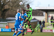 Forest Green Rovers Isaiah Osbourne(34) heads the ball clear during the EFL Sky Bet League 2 match between Forest Green Rovers and Notts County at the New Lawn, Forest Green, United Kingdom on 10 March 2018. Picture by Shane Healey.